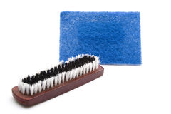 Hand Brush with Sponge Cloth Stock Images
