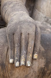 Hand of Buddha. Fragment of Buddha statue in Sukhothai Historical Park Royalty Free Stock Image