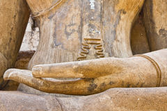 Hand of Buddha image in Sukhothai historical park Royalty Free Stock Image