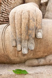 Hand of Buddha image in Sukhothai historical park Royalty Free Stock Photo