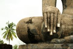 Hand of buddha statue Sukhothai thailand Royalty Free Stock Images