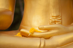 Hand of buddha statue. In thai temple Royalty Free Stock Photography