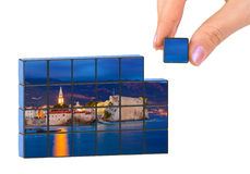 Hand and Budva Montenegro puzzle (my photo). Isolated on white background Stock Images