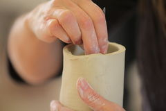 Hand Building with Clay Stock Photo