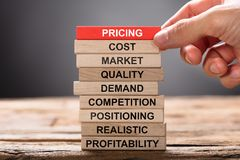 Free Hand Building Pricing Concept With Wooden Blocks Royalty Free Stock Image - 124522176