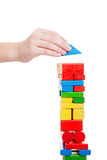Hand building tower. Childrends hand building tower made off building bricks Stock Images