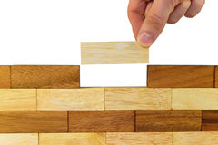 Hand building wall Royalty Free Stock Photos