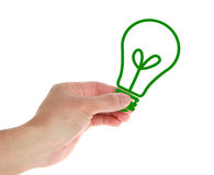 Hand with Bulb. Hand with green bulb on white royalty free stock photography