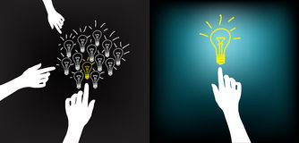 Hand_bulb_idea. Conceptual idea selection after intense brainstorming (private or group); Light bulb on fingertip Stock Images