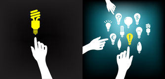 Hand_bulb_idea. Conceptual idea selection after intense brainstorming (private or group); Light bulb on fingertip Royalty Free Stock Image