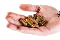 Hand of bullets Royalty Free Stock Image
