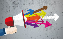 Hand Bullhorn Concrete Arrows Royalty Free Stock Images
