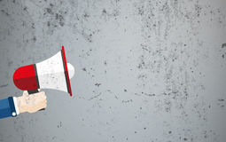 Hand Bullhorn Concrete Copyspace Royalty Free Stock Images