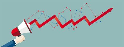 Hand Bullhorn Growth Chart Header. Hand with bullhorn and growing chart on the green background Royalty Free Stock Images