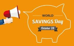 Hand Bullhorn Piggy Bank Speech Bubble Savings Day Stock Images