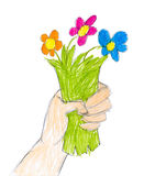 Hand with bunch of flowers. child drawing Royalty Free Stock Photos