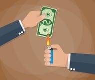 Hand burn money bill Royalty Free Stock Image