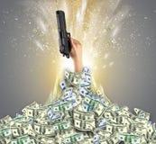 Hand bursting from a money heap. Hand bursting from a huge money pilen vector illustration