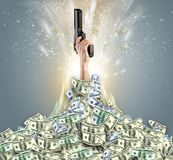 Hand bursting from a money heap. Hand bursting from a huge money pile stock photo