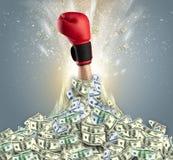 Hand bursting from a money heap royalty free stock photos