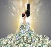 Hand bursting from a money heap. Hand bursting from a huge money pilen stock illustration