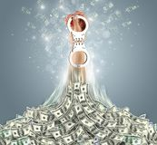 Hand bursting out from a money heap. Hand bursting out from a huge money pile vector illustration