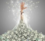 Hand bursting out from a money heap. Hand bursting out from a huge money pile royalty free illustration