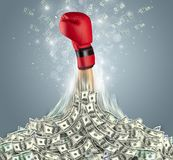 Hand bursting out from a money heap. Hand bursting out from a huge money pilen vector illustration