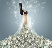 Hand bursting out from a money heap. Hand bursting out from a huge money pilen stock illustration