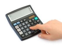 Hand and business calculator Stock Photo