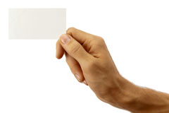 Hand and business card. The hand of man shows a business card. Isolated on white stock images