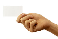 Hand and business card. The hand of man shows a business card. Isolated on white royalty free stock image