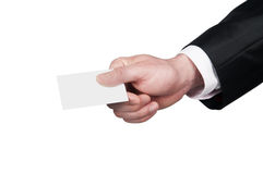 Hand with business card Royalty Free Stock Images