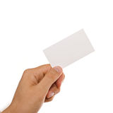 Hand and business card stock image