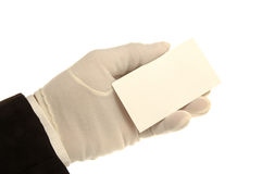 Hand & Business Card. White Gloved hand holding Blank Business Card stock photography