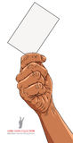 Hand with business card, African ethnicity, detailed vector Stock Image