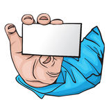 Hand with business card. cartoon Style Stock Photo