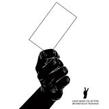 Hand with business card, detailed black and white vector illustr Royalty Free Stock Photography