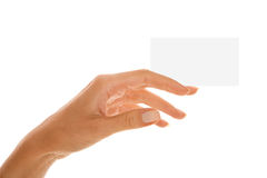 Hand with business card Stock Images