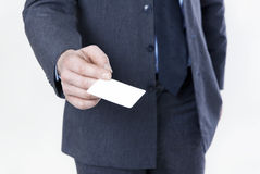 Hand with business card Stock Photos