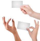 Hand - business card in your hands Stock Images