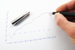 Hand and business chart Royalty Free Stock Photos