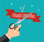 Hand business cutting ribbon red grand opening with scissor. Stock Photo