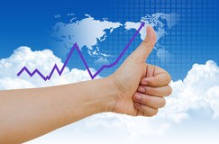 Hand business graph Stock Photography