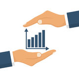 Hand business graph. Hand holding business graph. Vector illustration flat design.  on white background Stock Photos