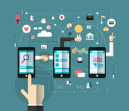 Hand of Business man connect the online space with smartphone. Concept of communication;Marketing network;Business technology Stock Images