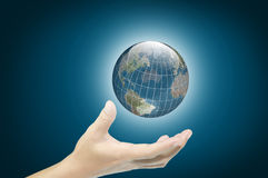 Hand of business man hold earth globe Stock Images