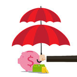 Hand of business man holding the red umbrella to protect piggy bank Stock Photos