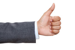 Hand of business man with thumb up Royalty Free Stock Photos