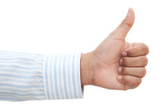 Hand of business man with thumb up Stock Images